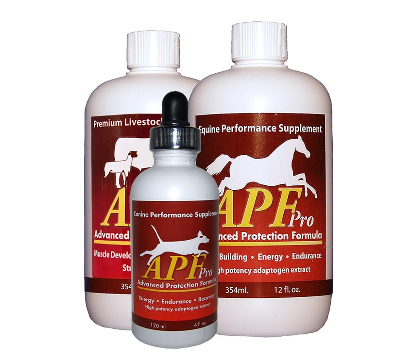 APF Pro bottles for horses, dogs and livestock
